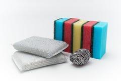 Dish washing sponge. On a white isolated background Royalty Free Stock Photo