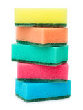 Dish washing sponges. A pile of colourful dish washing sponges royalty free stock images