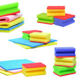 Dish washing sponges. A selection of dish washing sponge and cloth images stock image