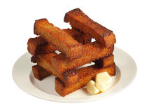 Dish with well-built croutons Stock Photography