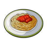 The dish in which wheat spaghetti with red sauce.Main dish vegetarian.Vegetarian Dishes single icon in cartoon style. Vector symbol stock web illustration Stock Images