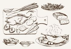 Dish of wild ducks. Set of vector sketches Royalty Free Stock Photos