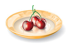 Dish With Cherries Stock Images