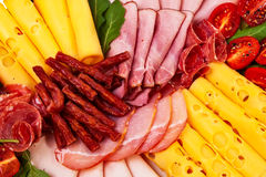 Dish With Sliced Ham, Cheese, Salami Rolls. Stock Image