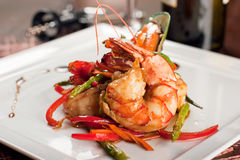 Dish With Tiger Shrimps, Mussels And Vegetables Stock Photography