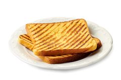 Free Dish With Two Roasted Slices Of Bread On White Royalty Free Stock Image - 157042846