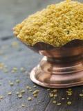 Dish of Yellow Mustard Seeds Royalty Free Stock Photos