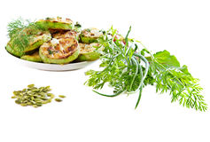 Dish of zucchini . Stock Images