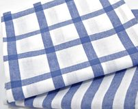 Dishcloth. Kitchen towels with blue and white squares Stock Photos