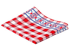 Dishcloth isolated. Kitchen towel with red cells isolated on a white background Stock Photos