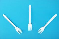 dishes устранимая белизна вилки Стоковые Изображения