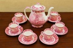 фарфор dishes свежее время чая клубник фарфора Стоковое Изображение