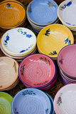 Dishes. Colorful display of Provence ceramic ware Stock Images