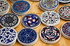 Dishes. Old dishes decorated in bright colors Stock Images