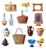 Dishes and baskets Stock Photos