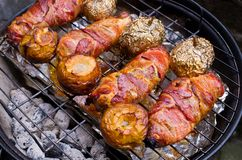 Dishes on the BBQ. Variety of dishes on the BBQ Stock Photo