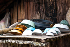 Dishes and bowls on brown bamboo Stock Photography