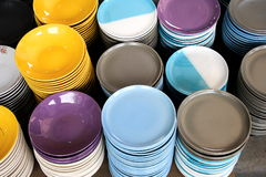 Dishes. Ceramic plates in the kitchen Royalty Free Stock Photography