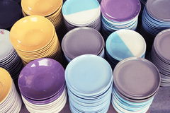 Dishes. Ceramic plates in the kitchen Royalty Free Stock Image