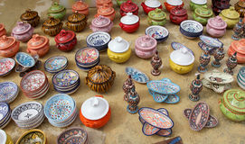 Dishes and containers of colorful glazed ceramic Stock Images