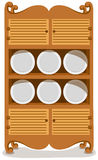 Dishes in the cupboard. Illustration of isolated dishes in the cupboard Royalty Free Stock Photo