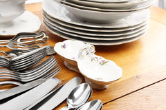 Dishes and cutlery set stock photography