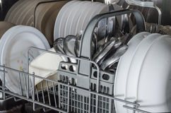 Dishes in dishwasher Stock Photo