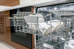 Dishes in dishwasher machine Stock Photo