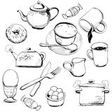 Dishes doodles Stock Image