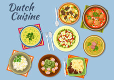 Dishes of dutch cuisine menu Stock Images