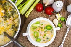 Dishes from fish. Soup with salmon and cream. Studio Photo Royalty Free Stock Photography