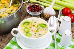 Dishes from fish. Soup with salmon and cream. Studio Photo Stock Photography