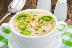 Dishes from fish. Soup with salmon and cream. Studio Photo Royalty Free Stock Photos