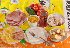 Dishes with food. Stand on a table Stock Image