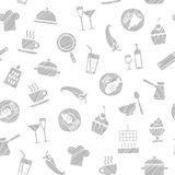 Cooking, seamless pattern, white, vector. Dishes and food. Hatching with a gray pencil on a white field. Imitation. Vector pattern Stock Photos