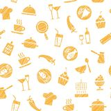 Cooking, seamless pattern, white, orange, vector. Dishes and food. Hatching with an orange pencil on a white field. Imitation. Vector pattern Royalty Free Stock Images