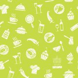 Cooking, seamless pattern, green, vector. Dishes and food. Hatching with a white pencil on a green field. Imitation. Vector pattern Royalty Free Stock Photography