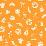 Cooking, seamless pattern, orange, vector. Dishes and food. Hatching with a white pencil on the orange field. Imitation. Vector pattern Royalty Free Stock Photos