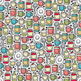Dishes and food seamless pattern. Royalty Free Stock Photography