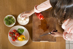 Dishes with fresh ingredients stock images