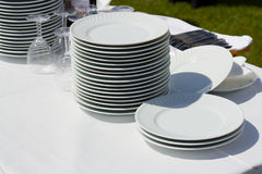 Dishes and glasse Stock Photos