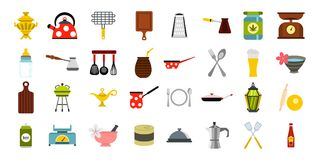 Dishes icon set, flat style. Dishes icon set. Flat set of dishes vector icons for web design isolated on white background Royalty Free Stock Photos