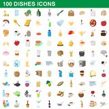 100 dishes icons set, cartoon style. 100 dishes icons set in cartoon style for any design illustration royalty free illustration