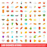 100 dishes icons set, cartoon style Stock Image