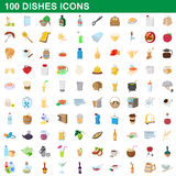 100 dishes icons set, cartoon style Royalty Free Stock Photography
