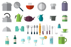 Dishes icons set. Stock Photography