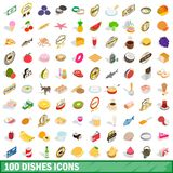 100 dishes icons set, isometric 3d style. 100 dishes icons set in isometric 3d style for any design illustration royalty free illustration