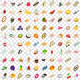 100 dishes icons set, isometric 3d style. 100 dishes icons set in isometric 3d style for any design vector illustration Royalty Free Stock Images
