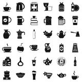 Dishes icons set, simple style Stock Photography