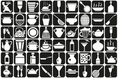 Dishes. Image of various icons with the dishes. Chef carrying a tray vector illustration